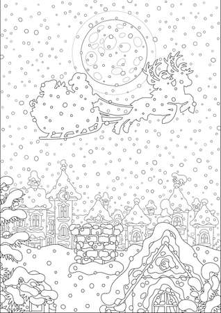 Magic reindeers flying Santa Claus with a big bag of gifts in his sleigh over a snow-covered pretty town on the moonlit and snowy night before Christmas, black and white vector cartoon illustration