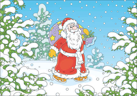 Santa Claus with his magic bag of holiday gifts walking in hurry through a snow-covered winter forest on a cold snowy day, vector cartoon illustration