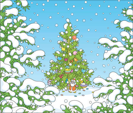 Colorfully decorated Christmas tree with shining balls, bright garlands and a small toy Santa Claus on a pretty white glade in a snow-covered winter forest, vector cartoon illustration