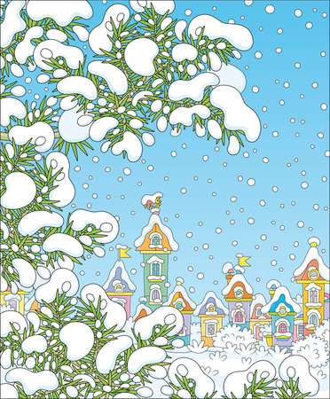 Snow-covered prickly fir branches in a snowy winter park of a small pretty town on a beautiful frosty day, vector cartoon illustration  イラスト・ベクター素材