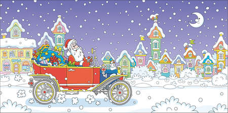 Santa Claus with a magic bag of winter holiday gifts driving his retro car down a snow-covered street with colorful houses of a pretty small town on a snowy moonlit night