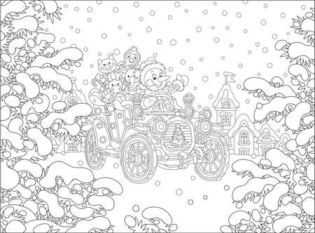 Funny snowman driving a toy retro car with holiday gifts for little kids on a snowy winter day in a pretty fir park of a small snow-covered town, black and white outline vector cartoon Vettoriali