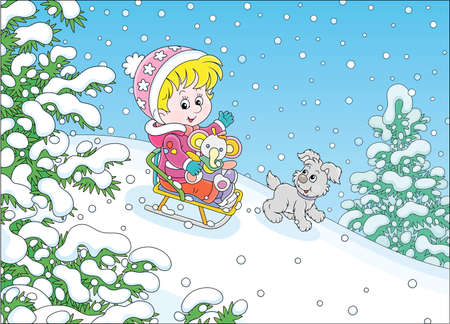 Happy little girl and her merry small puppy cheerfully sledding down a snow hill on a playground in a snowy park on a beautiful frosty day on winter holidays, vector cartoon illustration