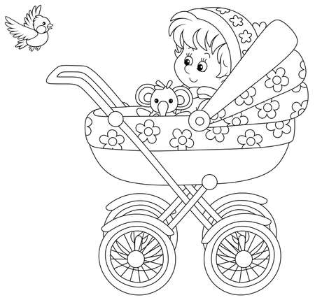 Happy little child sitting with a funny toy in a baby carriage and watching a flying small bird, black and white outline vector cartoon illustration for a coloring book page