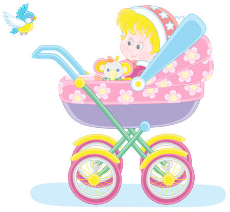 Happy little child sitting in a colorful baby carriage and watching a flying small bird on a winter walk, vector cartoon illustration isolated on a white background