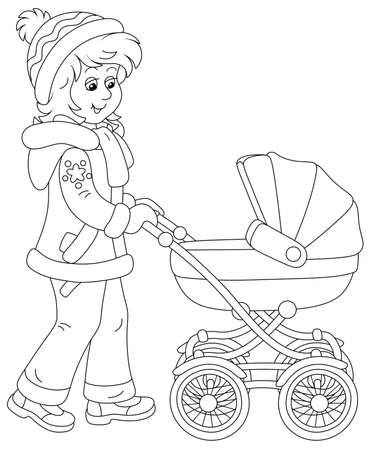 Young cute mom on a leisurely walk with her small child sleeping in a baby carriage on a winter day, black and white outline vector cartoon illustration for a coloring book page Vectores