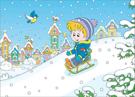 Happy little boy sledding down a snow hill on a playground in a snowy park on a beautiful frosty day on winter holidays, vector cartoon illustration