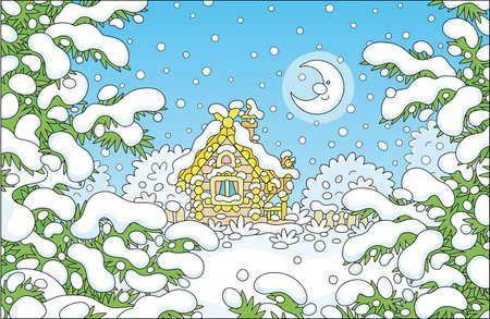 Smiling moon and a decorated small wooden house on a pretty snow-covered forest glade on a snowy and frosty winter night, vector cartoon illustration  イラスト・ベクター素材