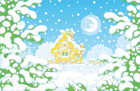 Smiling moon and a decorated small wooden house on a pretty snow-covered forest glade on a snowy and frosty winter night, vector cartoon illustration