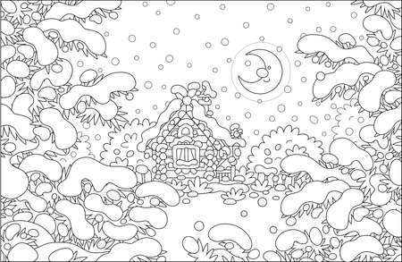 Smiling moon and a decorated small wooden house on a pretty snow-covered forest glade on a snowy and frosty winter night, black and white outline vector cartoon illustration for a coloring book
