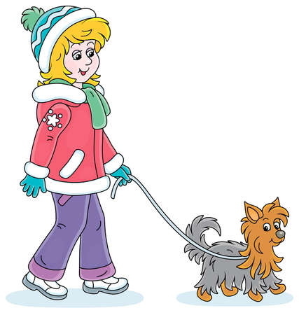 Girl in colorful winter clothes walking her small shaggy dog, vector cartoon illustration on a white background