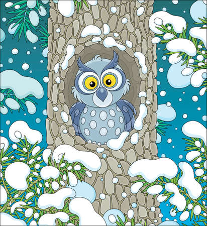 Wise northern owl with large round eyes looking out of its hollow in a snow-covered tree in a thicket of a snowy wild forest on a cold winter night, vector cartoon illustration