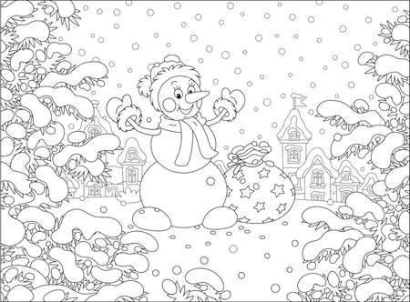 Friendly smiling funny snowman with a warm hat, a scarf and mittens brought a big bag of magic New Year gifts for little kids on a snowy winter day, black and white vector cartoon