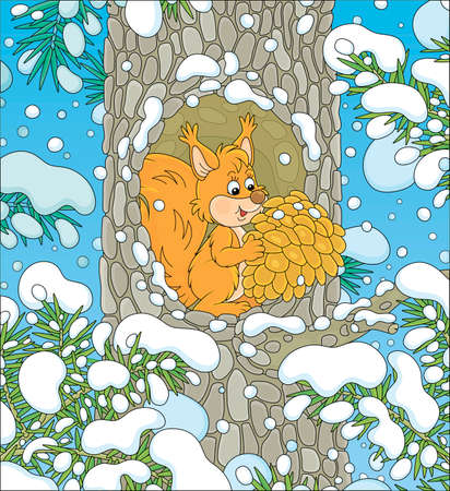 Fluffy little red squirrel with a big pine cone at home in a cozy hollow on a snow-covered tree in a thicket of a snowy wild forest on a cold winter day, vector cartoon illustration