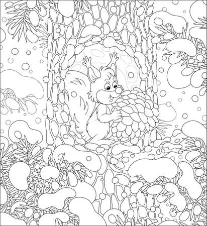 Fluffy little squirrel with a big pine cone at home in a cozy hollow on a snow-covered tree in a thicket of a snowy wild forest on a cold winter day, black and white vector cartoon