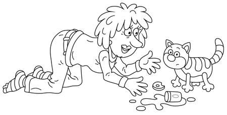 Merry young woman with bright dyed hair feeding and playing with a funny fat striped cat, black and white outline vector cartoon illustration