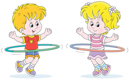 Cheerful cute little kids in colorful sport clothes playing and fun spinning hoops in a gymnastic lesson, vector cartoon illustration isolated on a white background