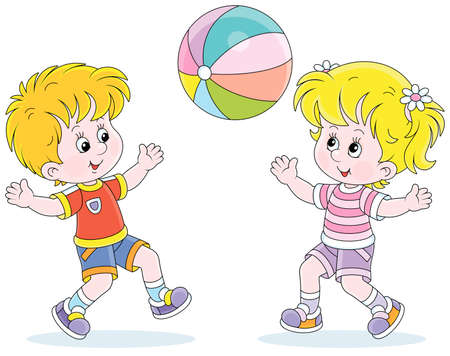 Happy little kids playing, running and catching a big colorful ball on a playground, vector cartoon illustration isolated on a white background Ilustración de vector