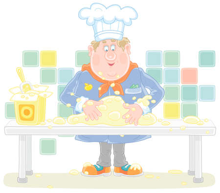 Funny fat cook in uniform standing at his kitchen table and kneading white dough to cook a tasty pie for a holiday.