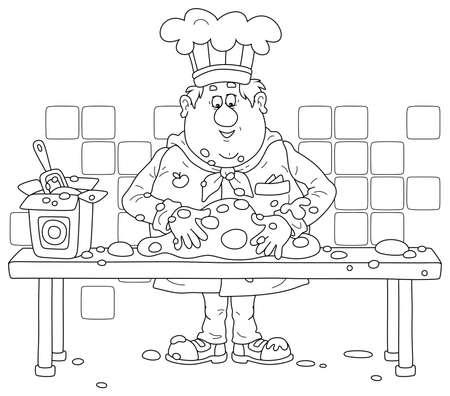 Funny fat cook in uniform standing at his kitchen table and kneading dough to cook a tasty pie for a holiday.