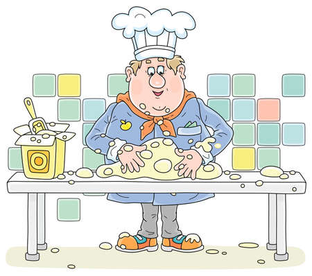 Funny fat cook in uniform standing at his kitchen table and kneading white dough to cook a tasty pie for a holiday. vector cartoon illustration isolated on a white background.