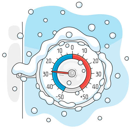 Round window thermometer on a frosty and snowy winter day, vector cartoon illustration on a white background