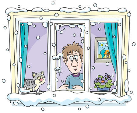 Funny young man with his cat going to walk and looking out of a snowy window with a thermometer on a frosty winter day. vector cartoon illustration on a white background.