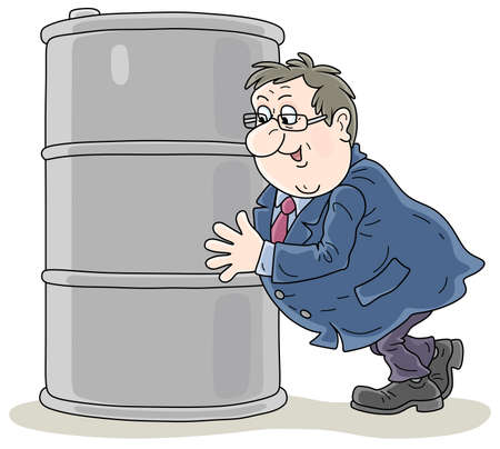 Happy fat businessman enjoying higher prices of oil and embracing a barrel of gasoline, vector cartoon illustration on a white background
