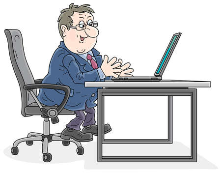 Successful businessman sitting in an office chair at his desk, working with a laptop, talking, gesticulating and smiling at an interlocutor, vector cartoon illustration on a white background
