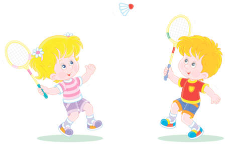 Happy little kids playing badminton with rackets and a flying shuttlecock in a fun game on a summer playground, vector cartoon illustration isolated on a white background