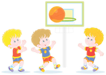 Cheerful little kids playing basketball with a big orange ball on a sportsground, vector cartoon illustration isolated on a white background