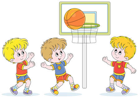 Cheerful little kids playing basketball with a big orange ball in a fun game on a playground, vector cartoon illustration isolated on a white background Ilustración de vector