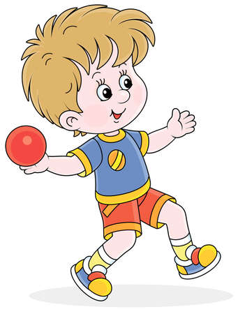 Little boy throwing a ball at range at an athletics competition on a sports ground, vector cartoon illustration isolated on a white background Vektorgrafik
