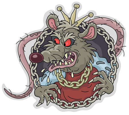 Spiteful and insidious old rat king with a shabby tail, wearing a gold crown and a chain, grinning out of its dark hole, vector cartoon illustration on a white background