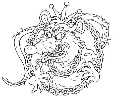 Spiteful and insidious old rat king with a shabby tail, wearing a gold crown and a chain, grinning out of its dark hole, black and white outline vector cartoon illustration for a coloring book page