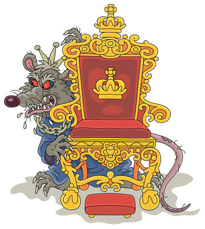 Spiteful and insidious old rat king with a shabby tail, wearing a gold crown and a chain, grinning from behind a royal throne, vector cartoon illustration on a white background Vektoros illusztráció
