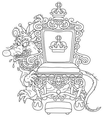 Spiteful and insidious old rat king with a shabby tail, wearing a crown and a chain, grinning from behind a royal throne, black and white outline vector cartoon illustration