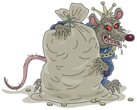 Spiteful and greedy of gain old rat king with a shabby tail, grinning and hugging a big bag of gold coins, vector cartoon illustration on a white background Vettoriali