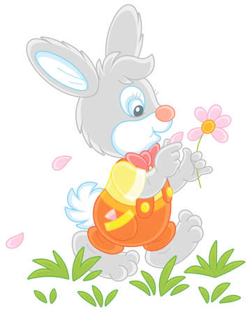 Little enamored bunny walking on green grass and guessing on a daisy, vector cartoon illustration isolated on a white background Vektoros illusztráció