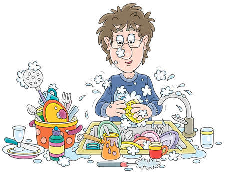 Everyday homework, a funny young man washing dishes, pans, forks and spoons with liquid soap in his kitchen after dinner, vector cartoon illustration on a white background