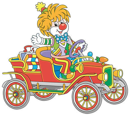Friendly smiling clown in a colorful comic suit driving a funny retro car in a circus performance, vector cartoon illustration isolated on a white background Vector Illustration