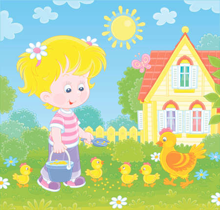 Little girl farmer standing with a bucket of feed grain and feeding a merry brood of small yellow chicks and a cute hen on a chicken farm on a sunny summer day, vector cartoon illustration