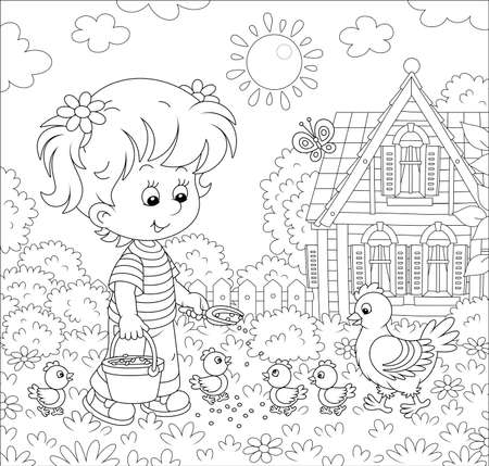 Little girl farmer standing with a bucket of feed grain and feeding a merry brood of small chicks and a cute hen on a chicken farm on a sunny summer day, black and white vector cartoon illustration