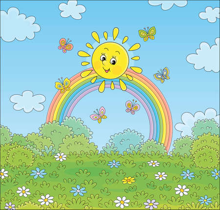 Friendly smiling sun with a colorful rainbow and butterflies merrily flittering over a green field with flowers and green bushes after warm summer rain, vector cartoon illustration