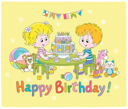 Birthday card with happy little kids friendly smiling and sitting around a fancy sweet cake decorated with colorful letters candles, vector cartoon illustration