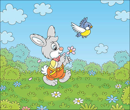 Little enamored bunny guessing on a daisy and walking on green grass of a pretty summer field with flowers on a beautiful warm day, vector cartoon illustration