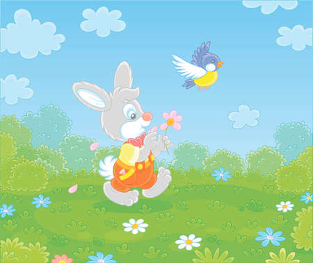 Little enamored bunny guessing on a daisy and walking on green grass of a pretty summer field with flowers on a beautiful warm day, vector cartoon illustration Vektoros illusztráció