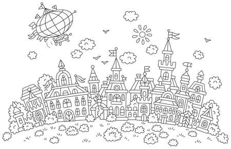 Airship flying over pretty houses, castles, palaces and towers of an old small town from a fairytale on a sunny summer day, black and white outline vector cartoon for a coloring book page