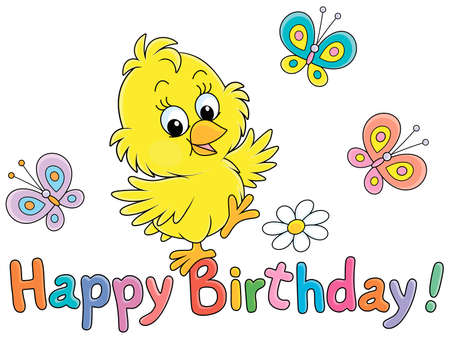Birthday card with a happy little yellow chick dancing with colorful small butterflies flittering around, vector cartoon illustration isolated on a white background