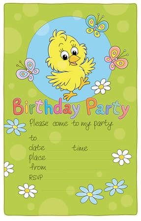 Invitation birthday party card with a happy little chick and merry colorful butterflies flittering over flowers on a pretty green lawn, vector cartoon illustration